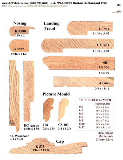 Wood trim profiles catalog page 38 j j wohlfert 39 s for Interior wood trim profiles
